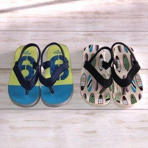 OshKosh & Carter's Flip Flops - 2x Pair